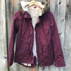 Maroon H&M faux fur utility coat
